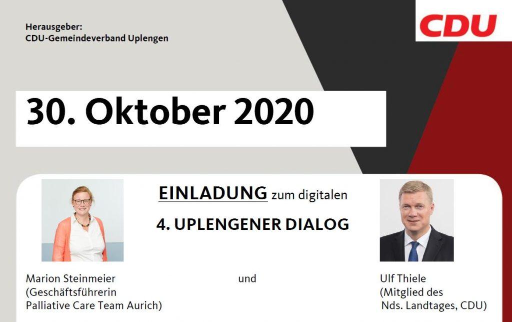 Vierter Uplengener Dialog am 30.10.2020 zum Thema Sterbebegleitung und Sterbehilfe