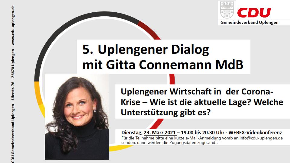 """Gitta Connemann MdB zu Gast beim 5. Uplengener Dialog  zum Thema: """"Uplengener Wirtschaft in der Corona-Krise – Wie ist die aktuelle Lage? Welche Unterstützung gibt es?"""""""